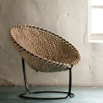 Round Brown Woven Rop As Seating In Round Black Metal Chair With Round Legs