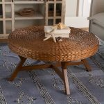 Round Coffee Table With Rattan Top, Wooden Legs