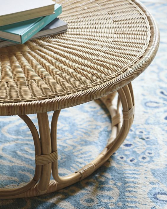 round coffee table with woven rattan top, rattan round support