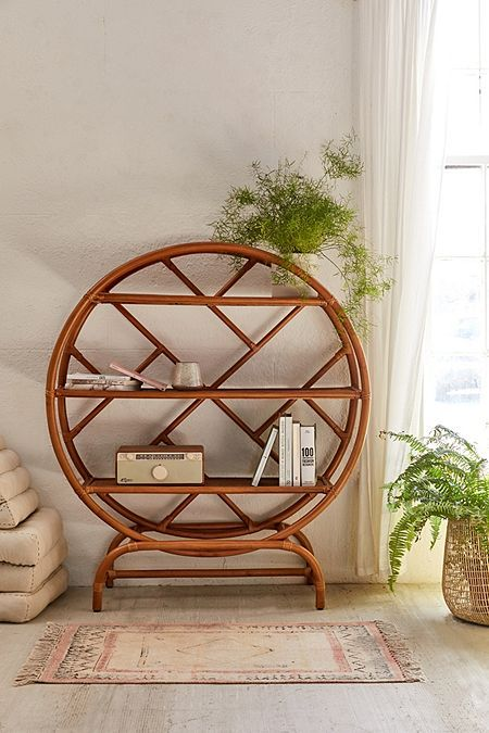 round rattan bookshelves with uncomplicated patterns