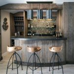 Rustic Bar, Wooden Bar Islant With Black Top, Wooden Stool With Balck Legs, Wooden Shelves, Black Pendants