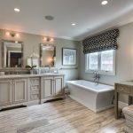 Rustic Bathroom Vanities With Tops Freestanding Tub Windows Window Roman Shade Wooden Floor Sinks Wall Mirrors Wall Sconces Stools Deck Glass Shower Door