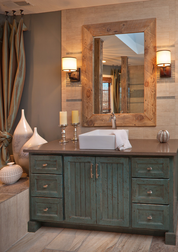 rustic bathroom vanities with tops square sink bowl faucet candles wall sconce wooden framed wall mirror bathroom decoration silk curtains