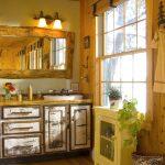 Rustic Bathroom Vanities With Tops Wooden Framed Wall Mirror Industrial Wall Sconce Sink Bowl Mediterranean Rug Woden Floor Windows Hook Traditional Window Shade