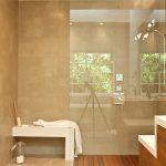 Shower Components Bamboo Flooring Beige Floor Tile Beige Wall Tile White Built In Bench Glass Shower Divider Wooden Vanity Shower Fixture Rainshower Head