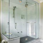 Shower Components Frameless Glass Shower Doors Stainless Steel Shower Fixture Towel Holder Black Mosaic Floor Tile White Wall Tile Built In Bench