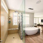 Shower Components Window Freestanding Acrylic Bathtub Wooden Floor Beige Mosaic Floor And Wall Tiles Glass Walls Shower Fixture Marble Bench