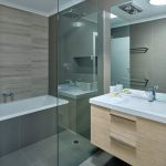 Shower Components Wooden Floating Vanity Built In Bathtub Glass Divider Rainfall Shower White Sink Faucet Wall Mirror