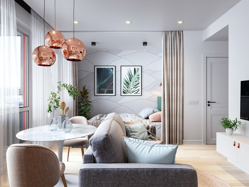 small apartment, wooden floor, white marble round table, modern chairs, grey sofa, white cabinet, bed with curtain, ceiling lamp, copper pendant