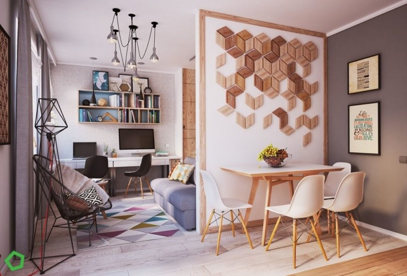 small apartment, wooden floor, white table, white modern chairs, blue grey sofa, rattan chair, colorful rug, long study table, floating shelves, modern pendant, white divider