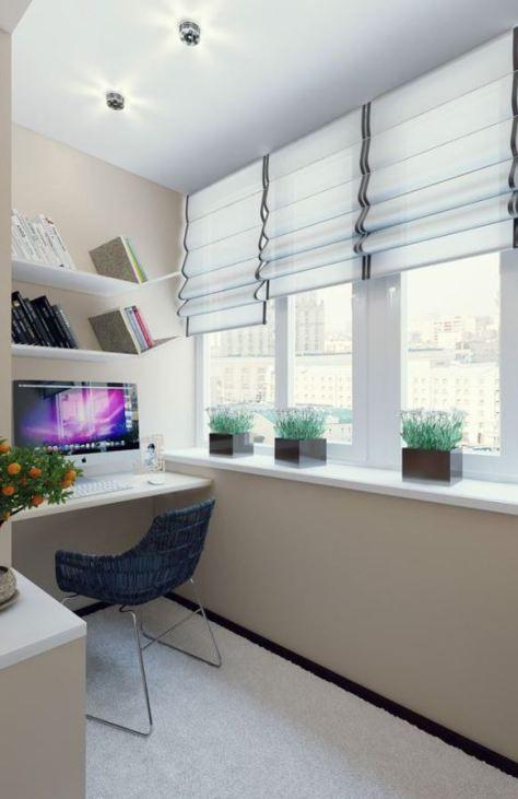 small balcony, white floor, beige wall, white roman shade, white floating shelves, blue rattan chair