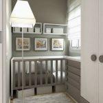 Small Nursery, Wooden Floor, Grey Drawers, White Cupboard, Grey Drawer, Grey Wall, Floor Lamp, Grey Rug, Roman Shade