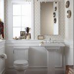Small Power Room, Wooden Chevron Floor, Chevron Red Rug, White Wainscoting, Wallpaper, Chandelier, White Toile, White Sink