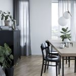 Small Square Dining Table Set With Beige Table With Black Legs, Black Chairs