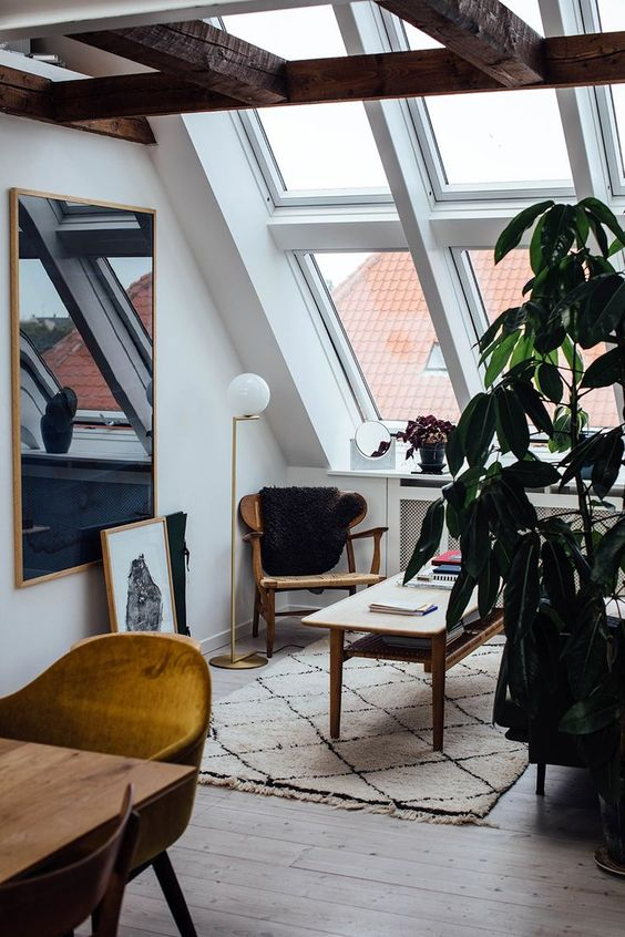 study room, sloping glass ceiling, wooden floor, wooden tables, wooden chairs, mirror, plants