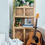 Tall Shelves With Detailed Patterned And Doors, Wooden Floor, Rattan Basket