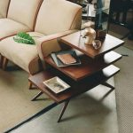Three Leveled Wooden End Table With Sloping Legs