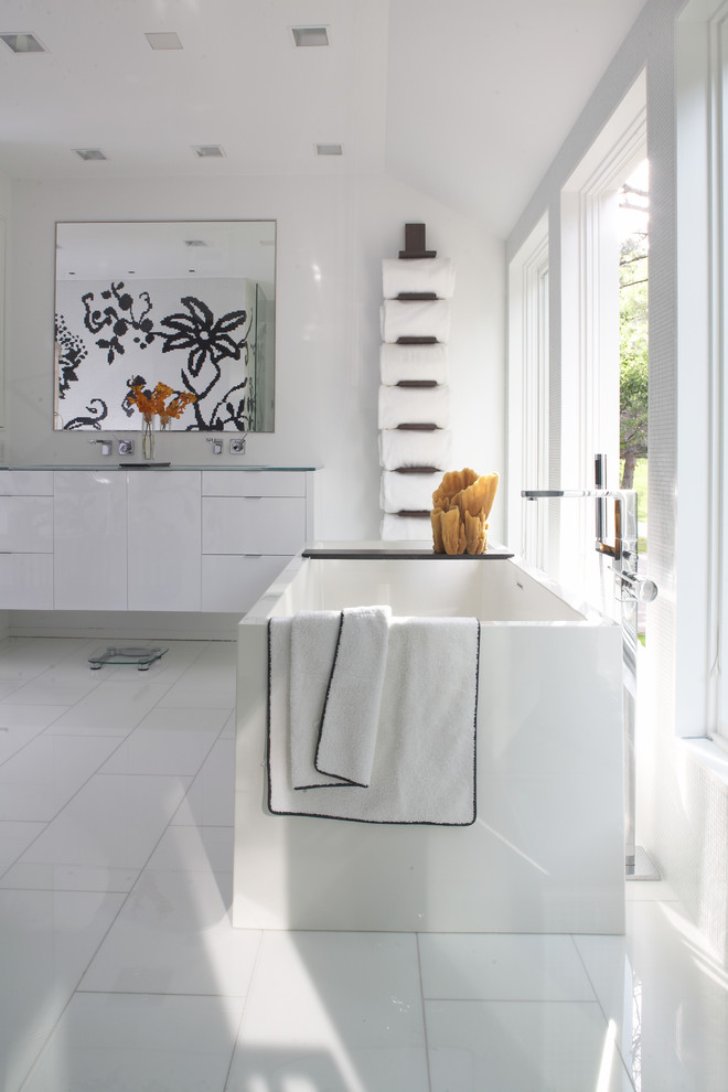 towel rack height wooden vertical towel rack wall mirror white floating flat panel vanity wall mounted faucet double sink freestanding bathtub glass windows tub filler white tiles