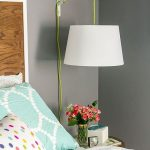 White Covered Hanging Sconces With Green Cable, Grey Wall, Wooden Headboard
