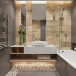 White Floating Vanity, White Cink, Wooden Plank On The Wall, Mirrors, Grey Wall, Grey Floor Tiles, Pebbles Ont Eh Floor
