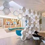 White Honeycomb Shelves For Room Divider Between Dining Room And Living Room