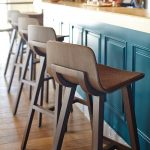 Wooden Bar Stool With Curvy Sleek Back, Brown Floor, Tosca Island With Wooden Top