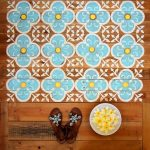 Wooden Deck, Blue White Moroccan Pattern