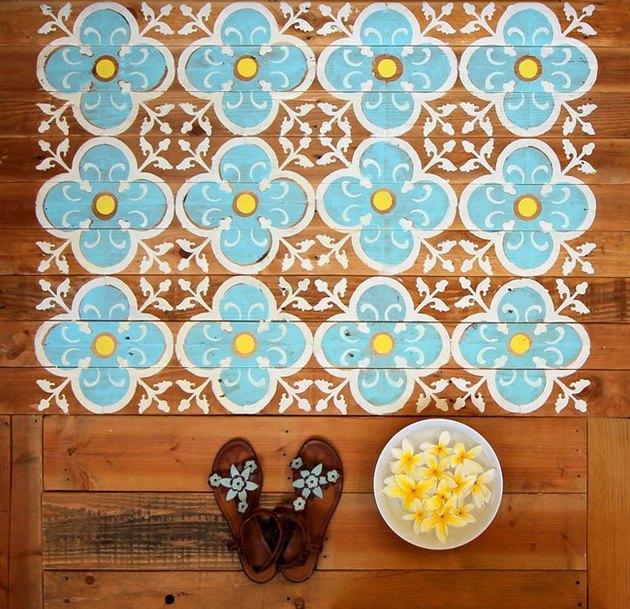 wooden deck, blue white moroccan pattern