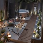 Wooden Deck, Jacuzzi, Room Divider, Candles, Wooden Rack, Rattan Chairs, Round Coffee Table