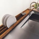 Wooden Drying Racks For Kitchenwares, Vegetables, Aluminum Top, Aluminum Faucet, White Wall