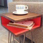 Wooden End Table With Open Drawer, Metal Legs, Brown Sofa, Grey Flooring