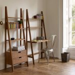 Wooden Ladder With Shelves And Table, Wooden Ladder With Shelves And Drawer