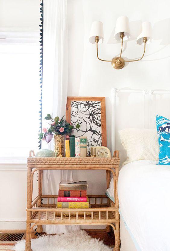 wooden rattan bedside shelves