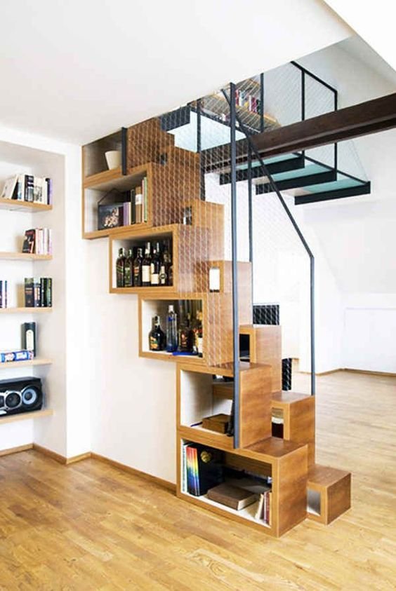 wooden stairs from boxes o fshelves, metal wire rails