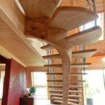 Wooden Stairs With Wooden Spine Under, Metal Rail, Floor Tiles, Wooden Ceiling, Wooden Wall