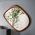 Assymetrical Mirror With Wooden Frame