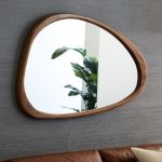Asymmetric Triangle Mirror With Wooden Frame