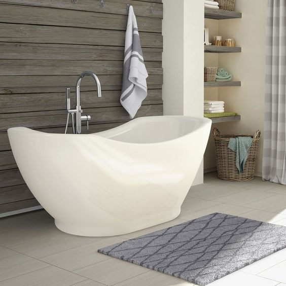bathroom, floor tiles, wooden wall, white marble tub with artistic shape, wooden floating shelves
