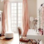 Bedroom, Chevron Wood Flooring, White Wall, Pink Curtain, White Desk, Parisian Chair, Mirror With Bulbs