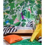 Bedroom With White Rug, Green Leaves Wallpaper, Wooden Bed Platform