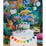 Bedroom With Wooden Floor, White Bed Platform, White Bedside Table, Colorful Forest Wallpaper