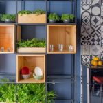 Black Metal Shelves With Wooden Boxes For Plants And Other, Blue Wall, Grey Floor, Patterned Wall Tiles