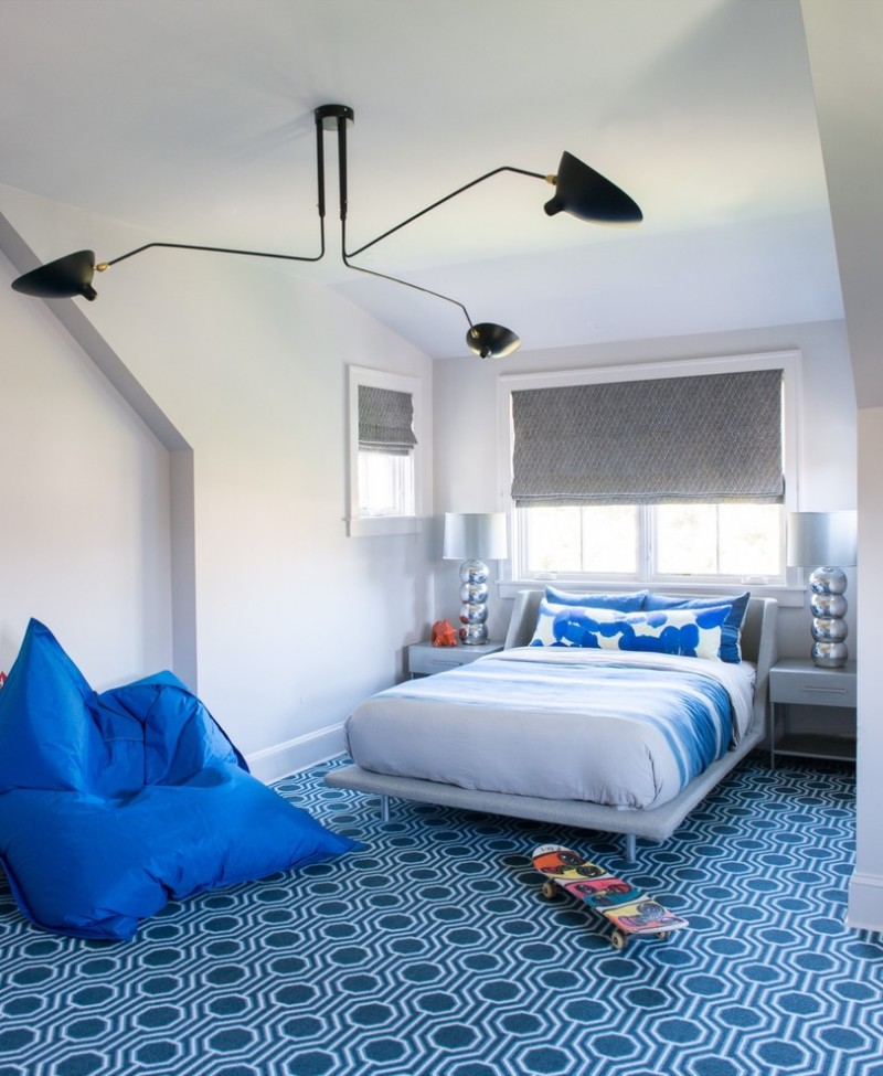 blue and gray bedroom black ceiling lamp blue area rug blue bedding blue bed blue table lamps blue nightstands blue eban bag grey walls grey roman shade windows