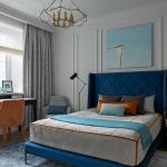 Blue And Gray Bedroom Gray Wall Gray Drapes Standing Lamp Gray Bedding Blue Bed Blue Headboard Blue Rug Blac Desk Orange Chair Table Lamp