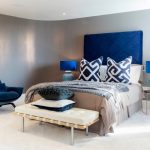 Blue And Gray Bedroom Gray Walls Blue Headboard Gray Bedding Blue Table Lamps Bedside Tables Bench Blue Pillows Blue Armchair