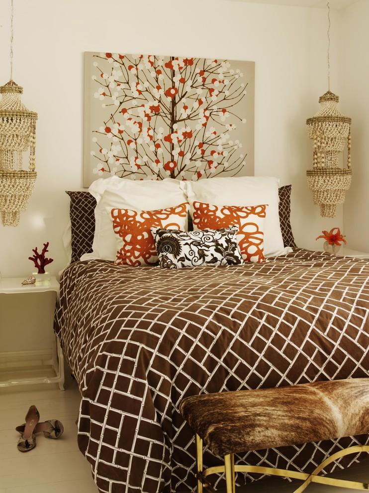 bohemian duvet cover pendant lamps white bedside tables brown bench gold legs wall decor brown duvet pillows