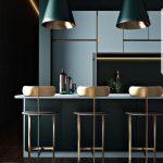 Dark Kitchen With Dark Green Island, Soft Blue Cabinet, Dark Green Pendants Golden Inside, Golden Stool With Back, Soft Blue Top