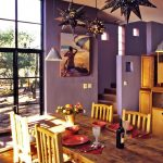 Dining Room, Wooden Floor, Purple Wall, Warm Yellow Wooden Dining Table Set, Wooden Cabinet, Star Pendants, Glass Window, Glass Door