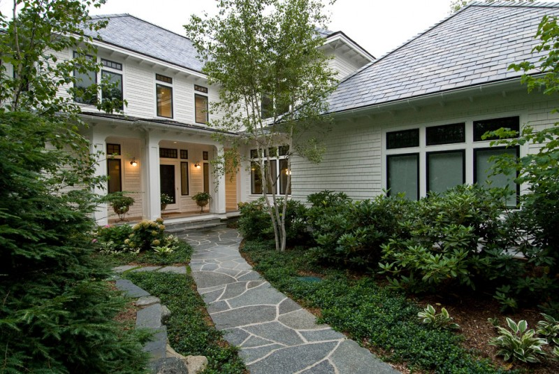 flagstone walkway design ideas white home industrial wall sconces plants glass windows glass doors window shades gray roof