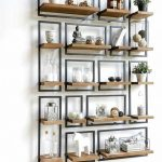 Floating Shelves With Black Metal Frame With Wooden